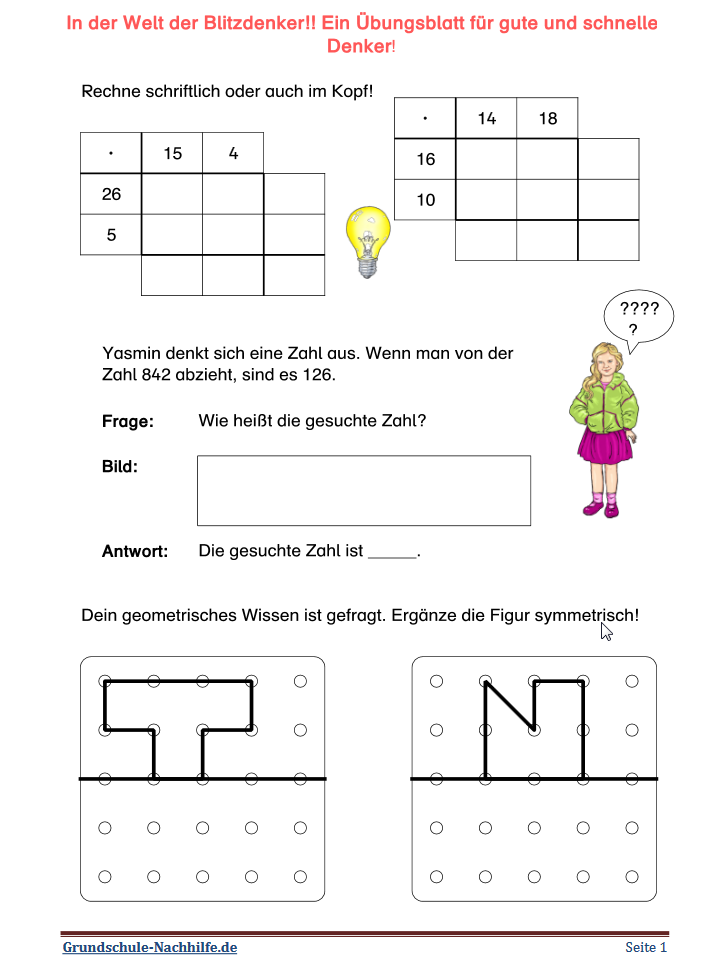 Grundschule Nachhilfe De Arbeitsblatt Mathe Klasse 3 4 In Der