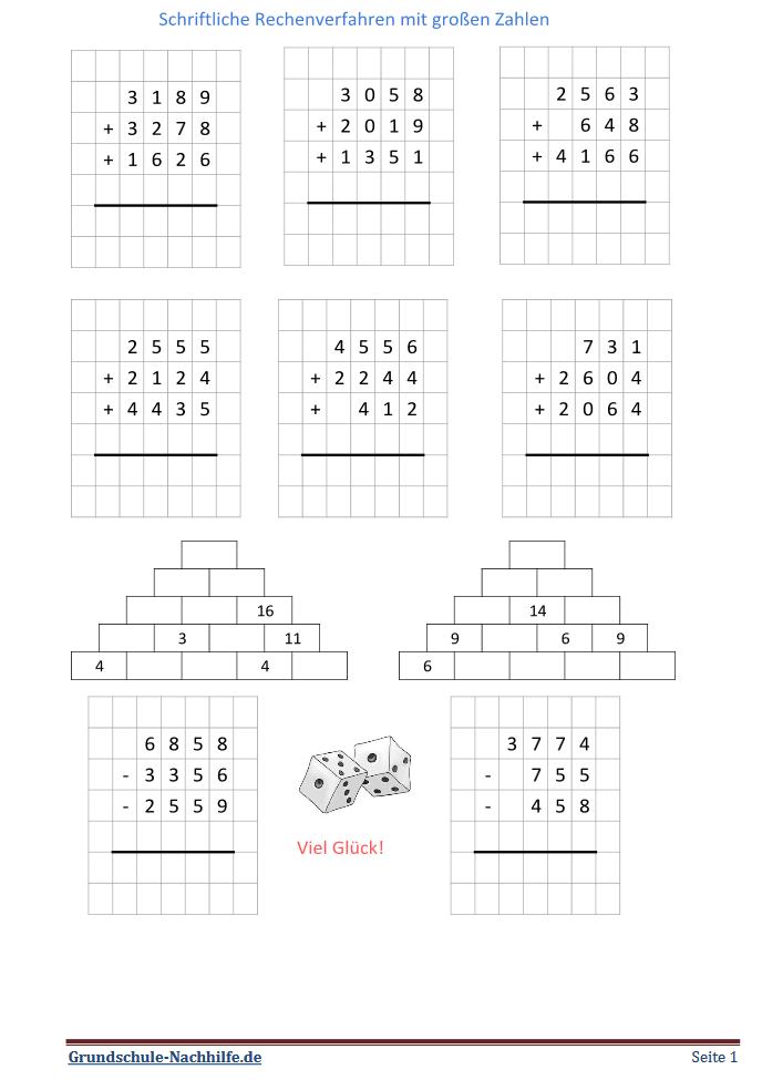 Grundschule Nachhilfede Arbeitsblatt Mathe Klasse 45