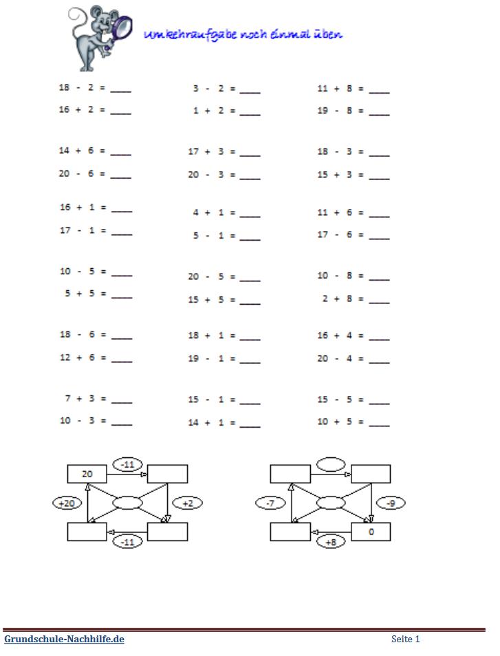 Grundschule Nachhilfede Arbeitsblatt Mathe Klasse 1