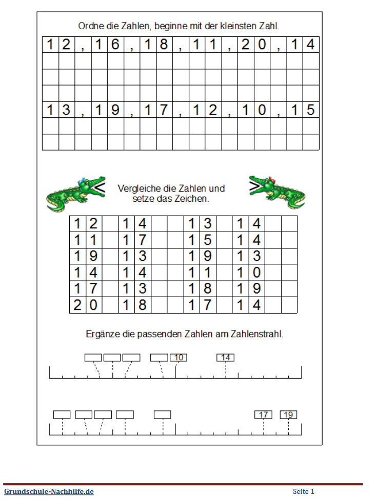 Grundschule Nachhilfe De Arbeitsblatt Mathe Klasse 1 Zahlen Ordnen Und Vergleichen Im Zahlenraum Bis 20