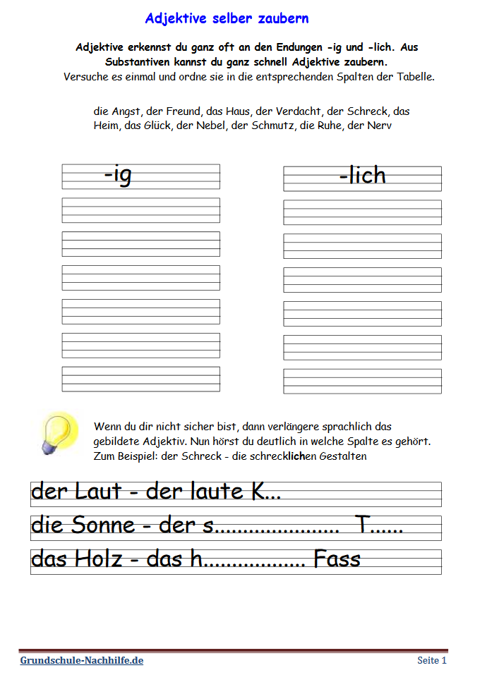 Grundschule Nachhilfede Arbeitsblatt Deutsch Klasse 23