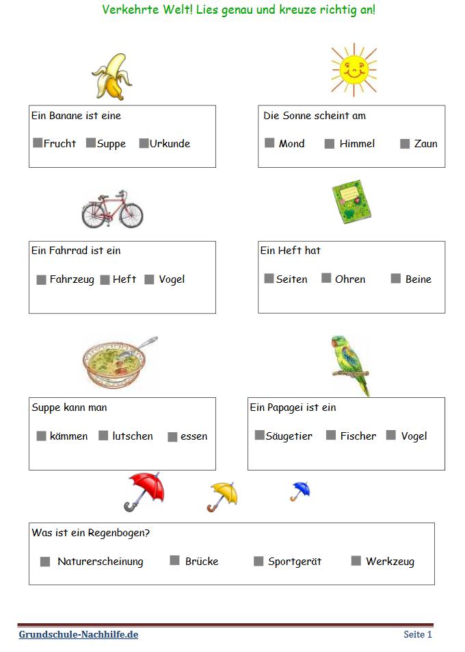 Grundschule Nachhilfede Arbeitsblatt Deutsch Klasse 12