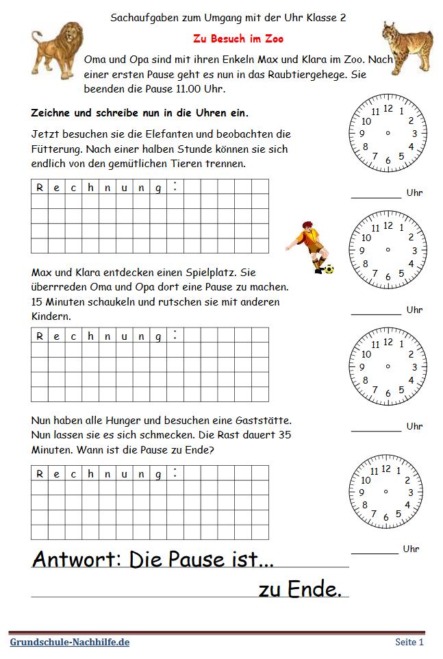Grundschule Nachhilfede Arbeitsblatt Mathe Klasse 2