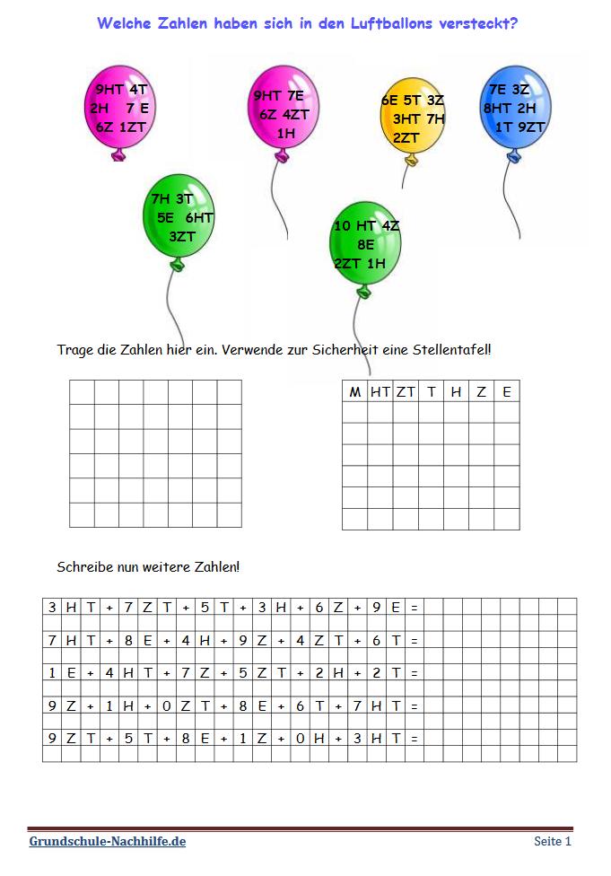 Grundschule Nachhilfede Arbeitsblatt Mathe Klasse 4 Einen