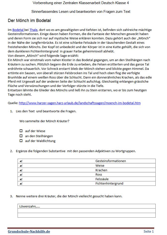Grundschule Nachhilfe De Arbeitsblatt Deutsch Klasse 4 5 6 Sinnerfassendes Lesen Und Fragen Zum Text Beantworten