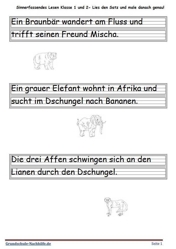 Grundschule Nachhilfede Arbeitsblatt Deutsch Klasse 1