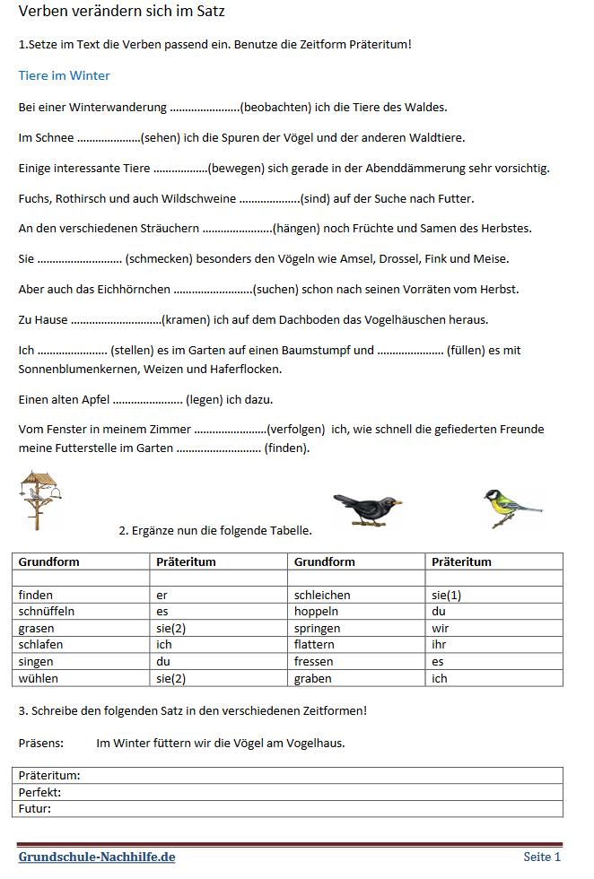 Grundschule Nachhilfede Arbeitsblatt Deutsch Klasse 345