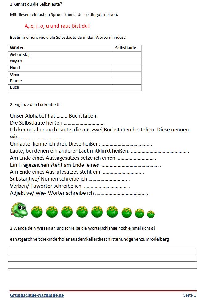 Grundschule-Nachhilfe.de | Arbeitsblatt Deutsch Klasse 2 ...