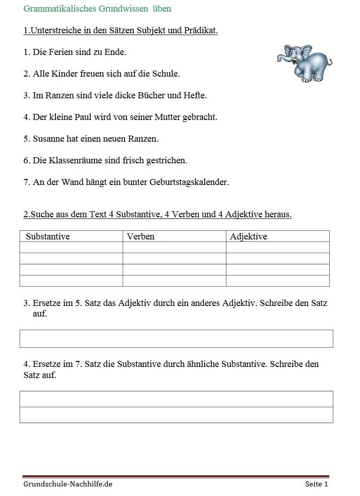 grundschule arbeitsblatt nachhilfe deutsch klasse 3 und 4 subjekt pr dikat und. Black Bedroom Furniture Sets. Home Design Ideas