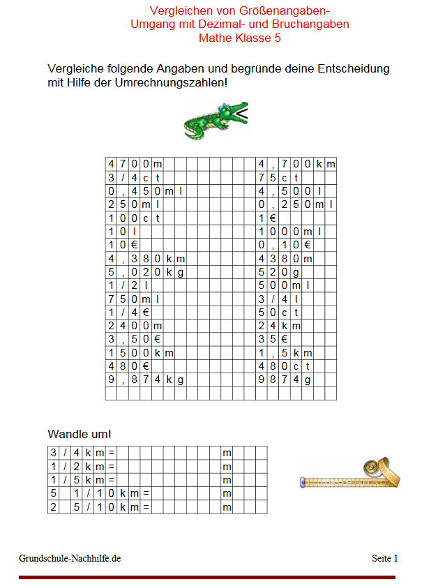 Grundschule-Nachhilfe.de | Arbeitsblatt Nachhilfe Mathe ...
